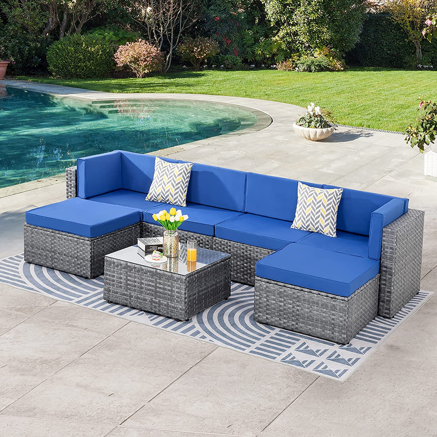 SUNLEI 7pcs Patio Outdoor Furniture Sets Conversation Set,Low Back All-Weather Rattan Sectional Sofa with Tea Table&Washable Couch Cushions&Ottoman(Silver Rattan)(Royal Blue)
