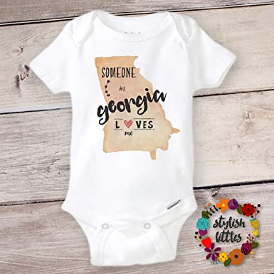 cf6541b2ea9e Amazon.com  Someone in Georgia Loves Me Cute Funny Baby Onesies and ...