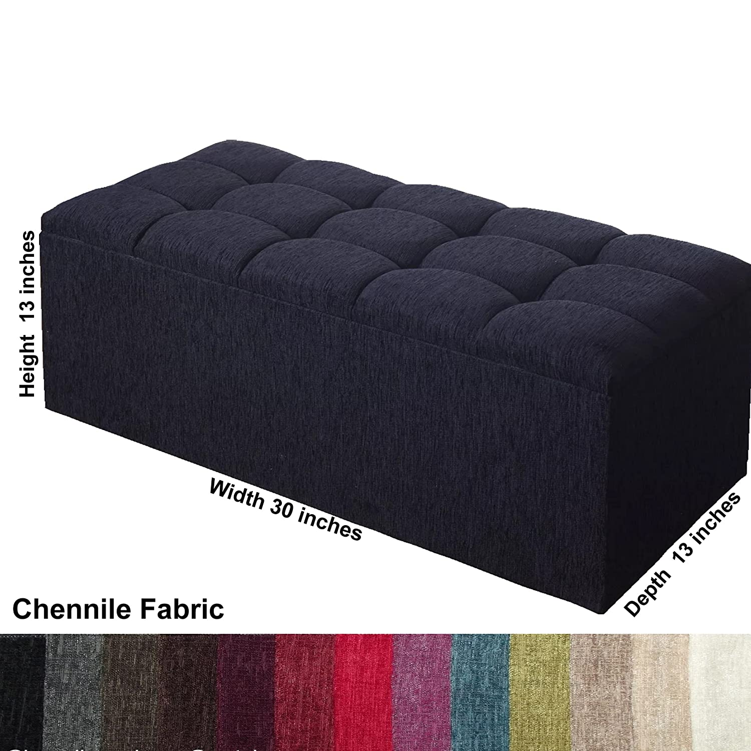 Toy Box Ottoman In  Chennile Fabric  /& Ideal Storage and Seating Solution