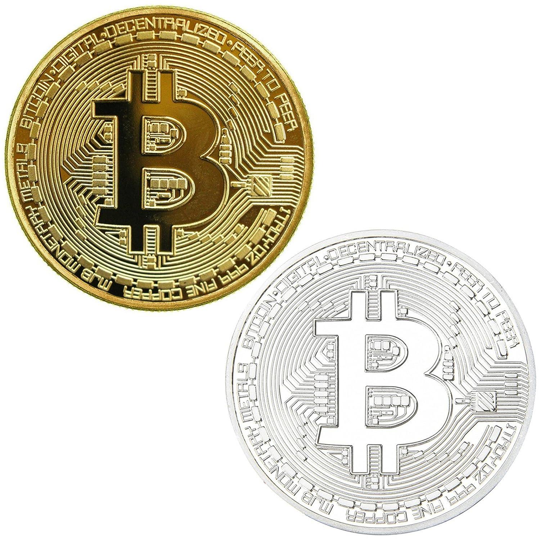 Set de chapado oro y plateado redondo coleccionistas monedas conmemorativas de Bitcoin