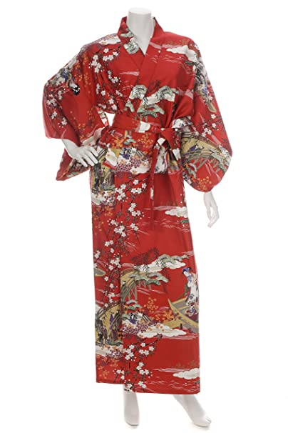 Amazon.com: Geisha largo rojo kimono japonés XL: Clothing