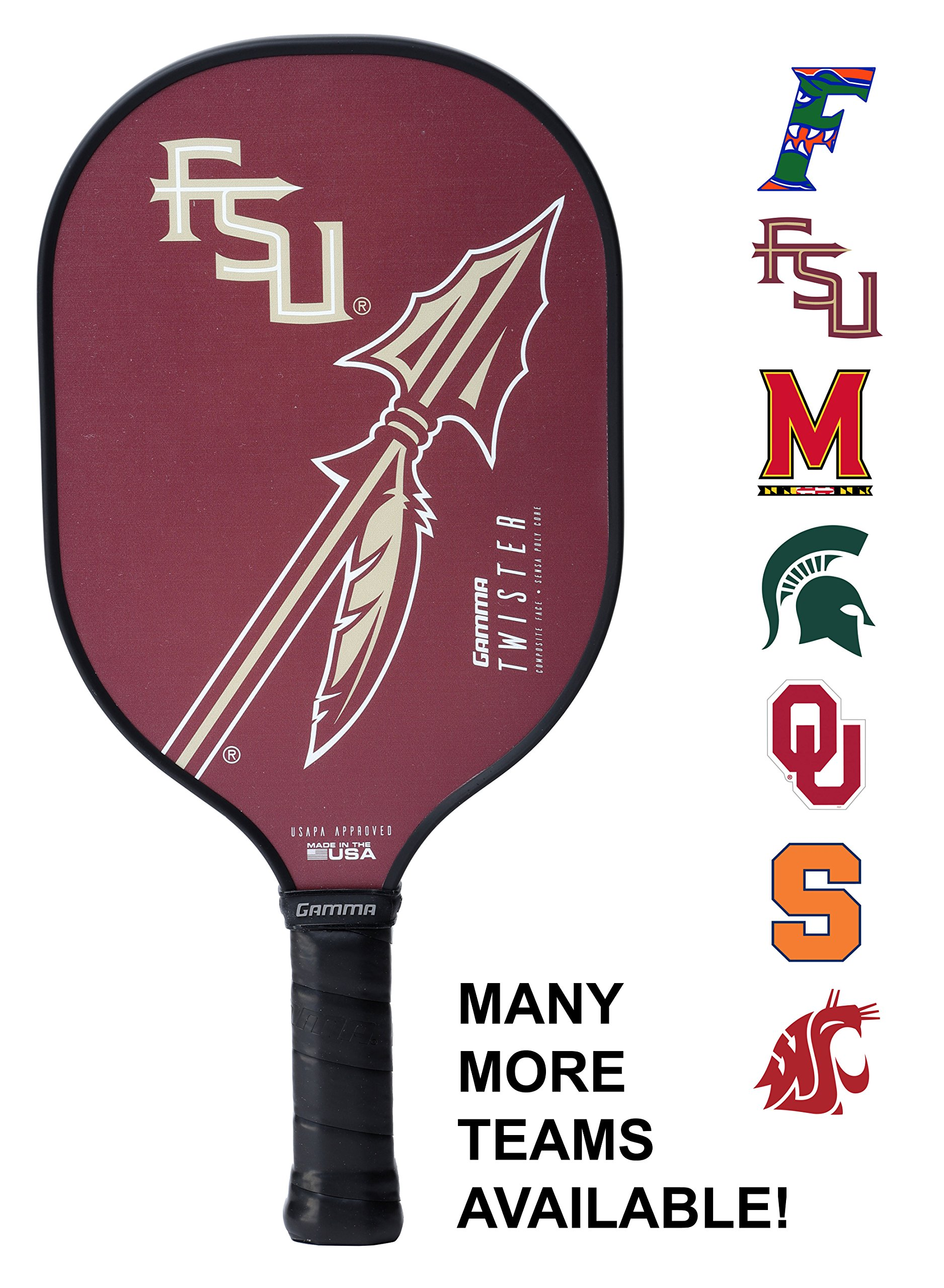 Gamma Collegiate Twister Composite Pickleball Paddle: Pickle Ball Paddles for Indoor & Outdoor Play - USAPA Approved Racquet for Adults & Kids - Florida State Seminoles