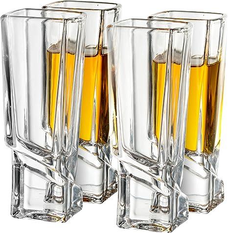 Joyjolt carr/és Verres /à shot carr/é de base solide Verre /à liqueur Lot de 4 51/gram