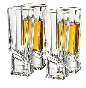 JoyJolt Carre Shot Glasses Square Heavy Base Shot Glass Set Of 4, 1.8-Ounce