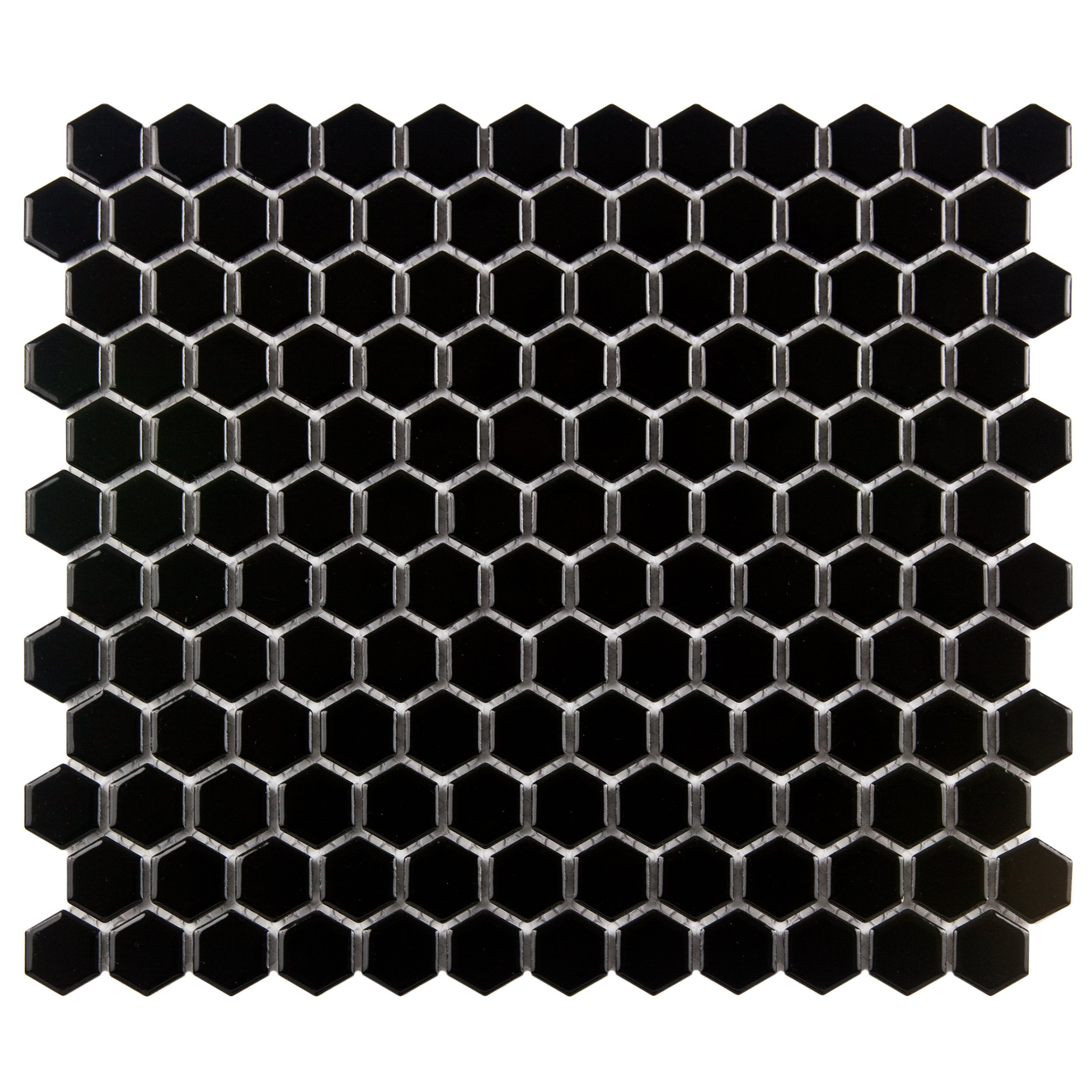 SomerTile FXLMHB Retro Hexagon Porcelain Floor and Wall Tile, 10.25'' x 11.75'', Black