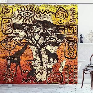 Ambesonne African Shower Curtain, Animals Safari Theme Cultural Art Grunge Bohemian, Cloth Fabric Bathroom Decor Set with Hooks, 75