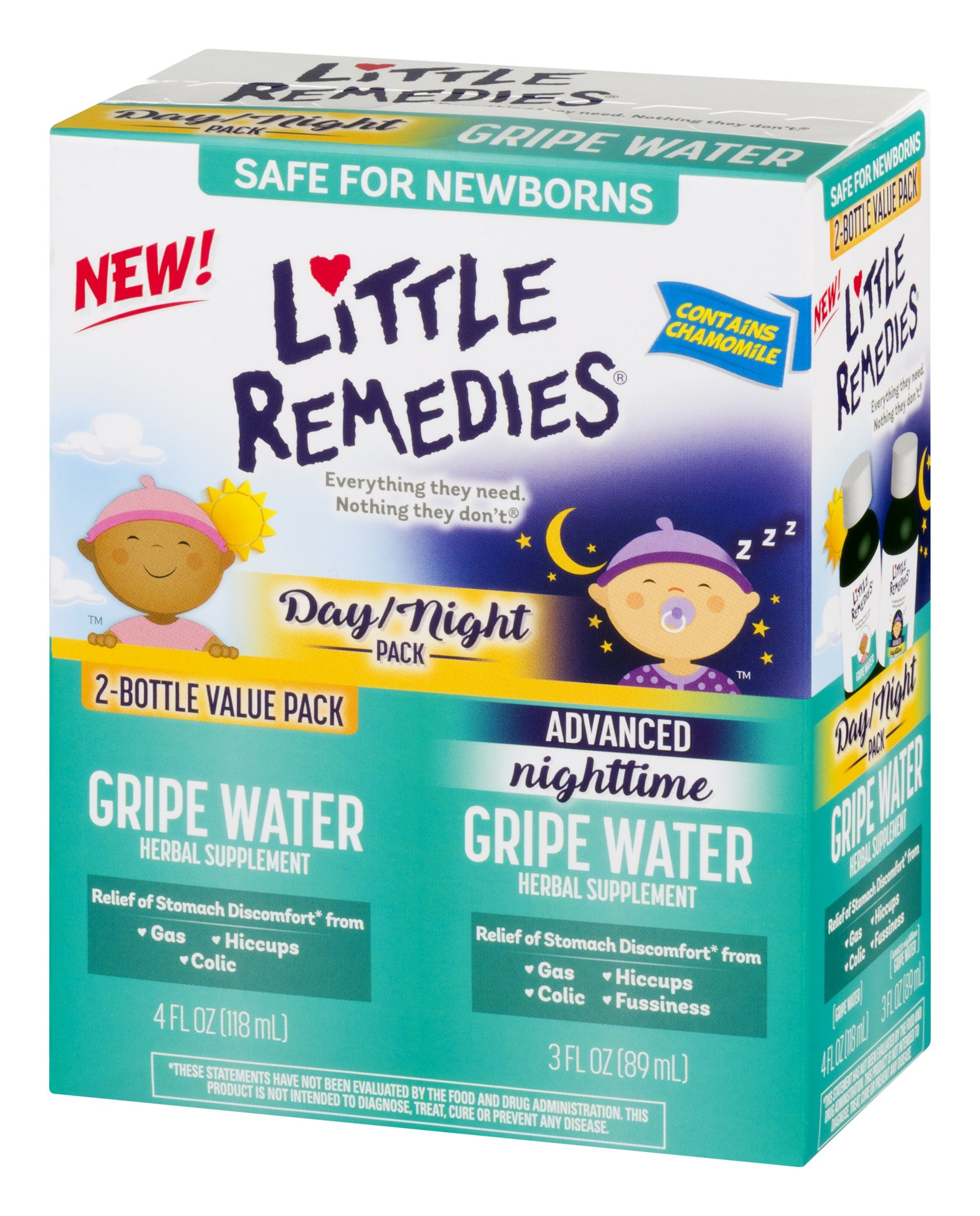 Little Remedies Day & Night Gripe Water Value Pack | Herbal Supplement | 2 Bottles | Gently Relieves Stomach Discomfort from Gas, Colic, and Hiccups | Safe for Newborns by Little Remedies (Image #2)