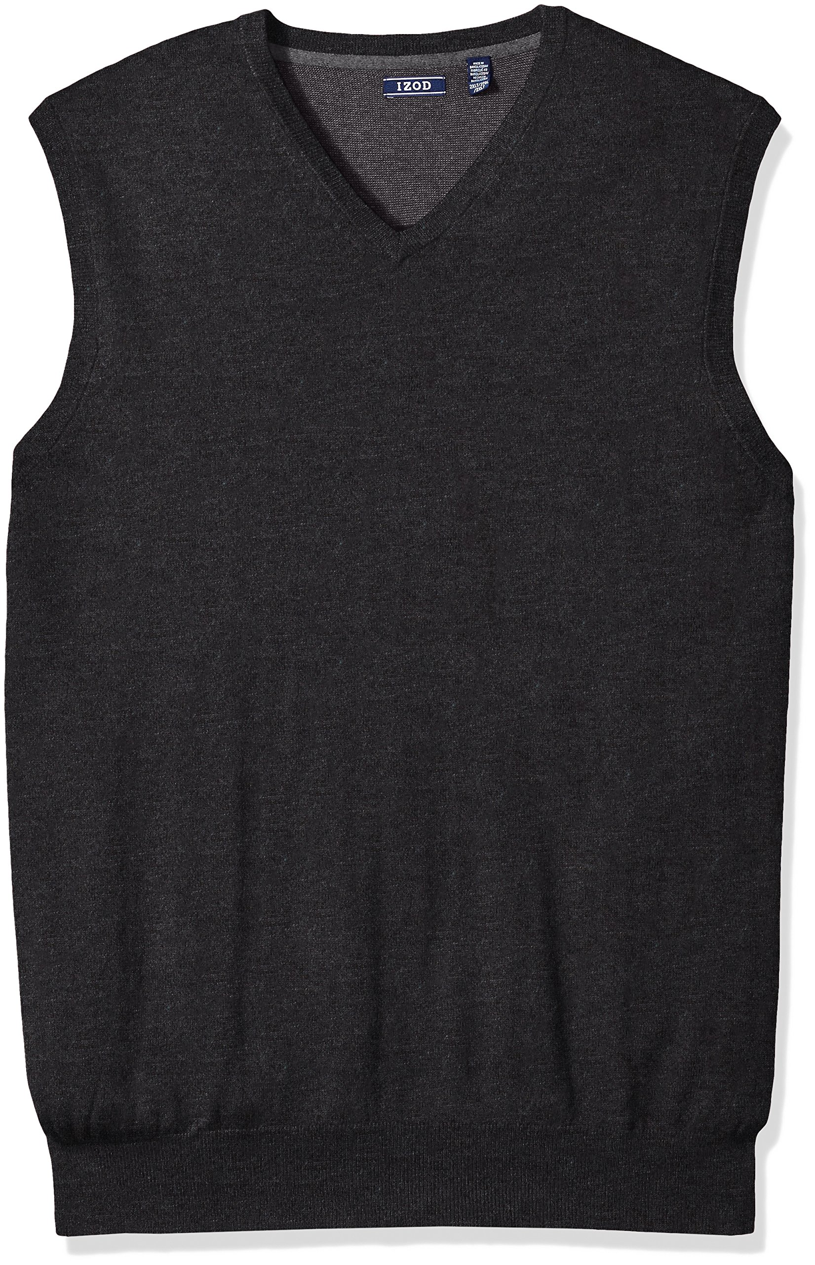 IZOD Men's Big Fine Gauge Solid Sweater Vest, Black, X-Large Tall