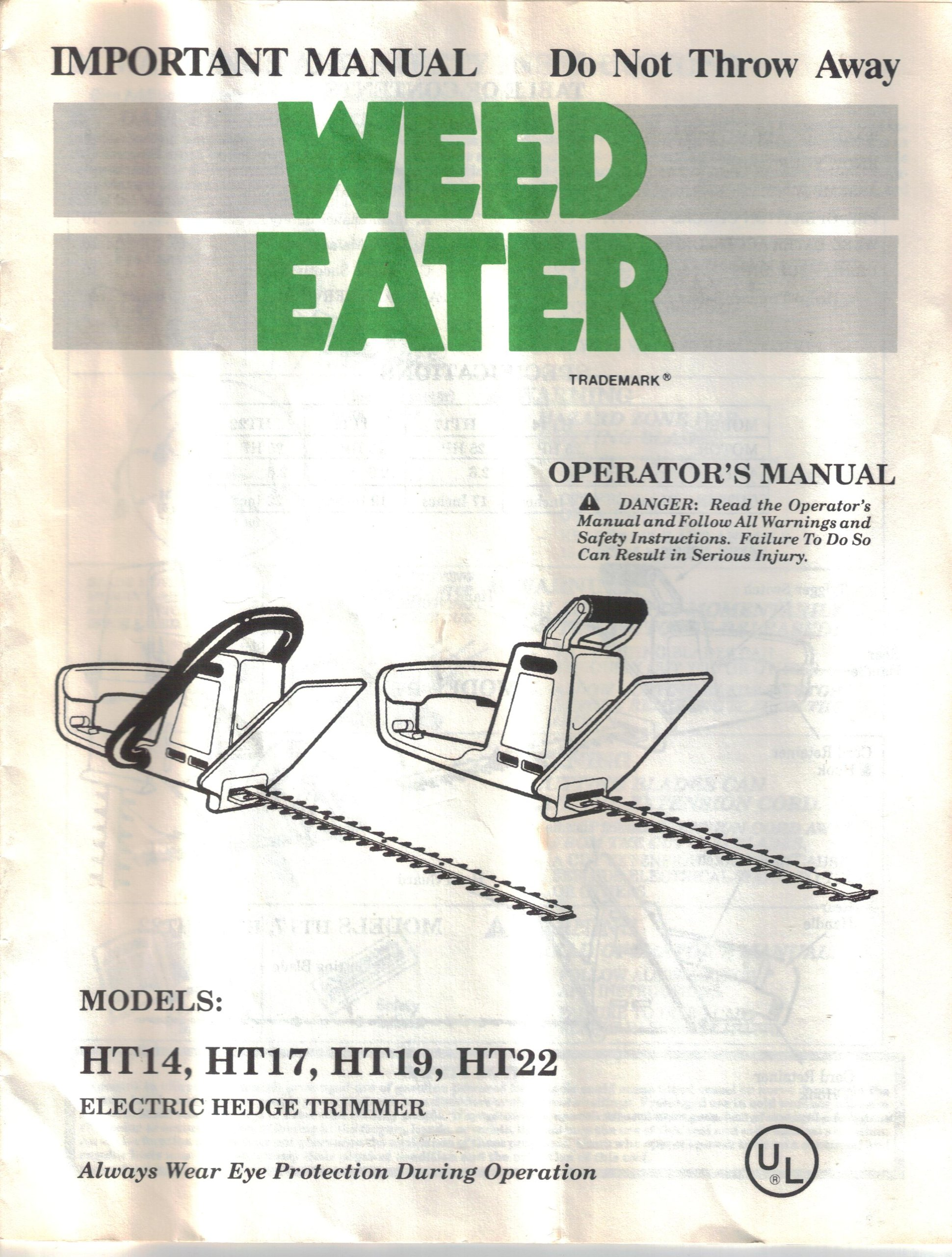 Poulan Weed Eater Electric Hedge Trimmer Operator's Owners Manual, Model  HT14 HT17 HT19 HT22: Poulan: Amazon.com: Books