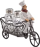 ATL French Chef Pierre Riding Bicycle Cart Salt and Pepper Shaker Set Display Stand Figurine