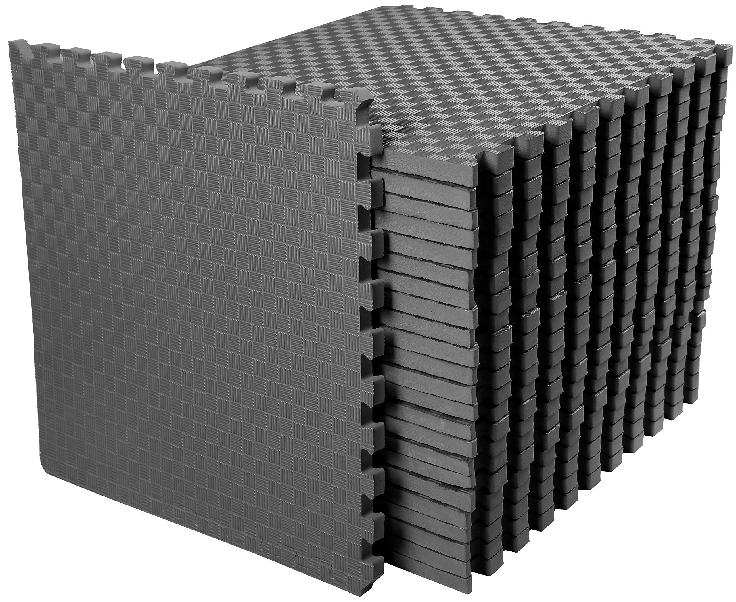 BalanceFrom 1'' Extra Thick Puzzle Exercise Mat with EVA Foam Interlocking Tiles for MMA, Exercise, Gymnastics and Home Gym Protective Flooring, 72 Square Feet (Gray)