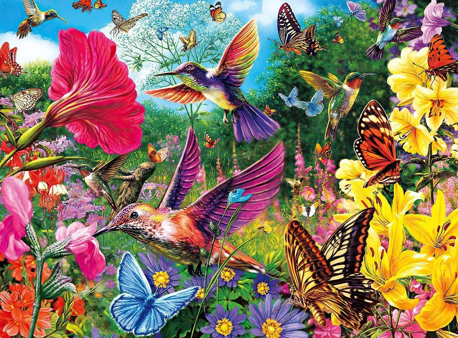 Large Wooden Jigsaw Puzzles 1000 Pieces,Cute Animal Bird Puzzle,Beautiful Hummingbird Garden Landscape Puzzle
