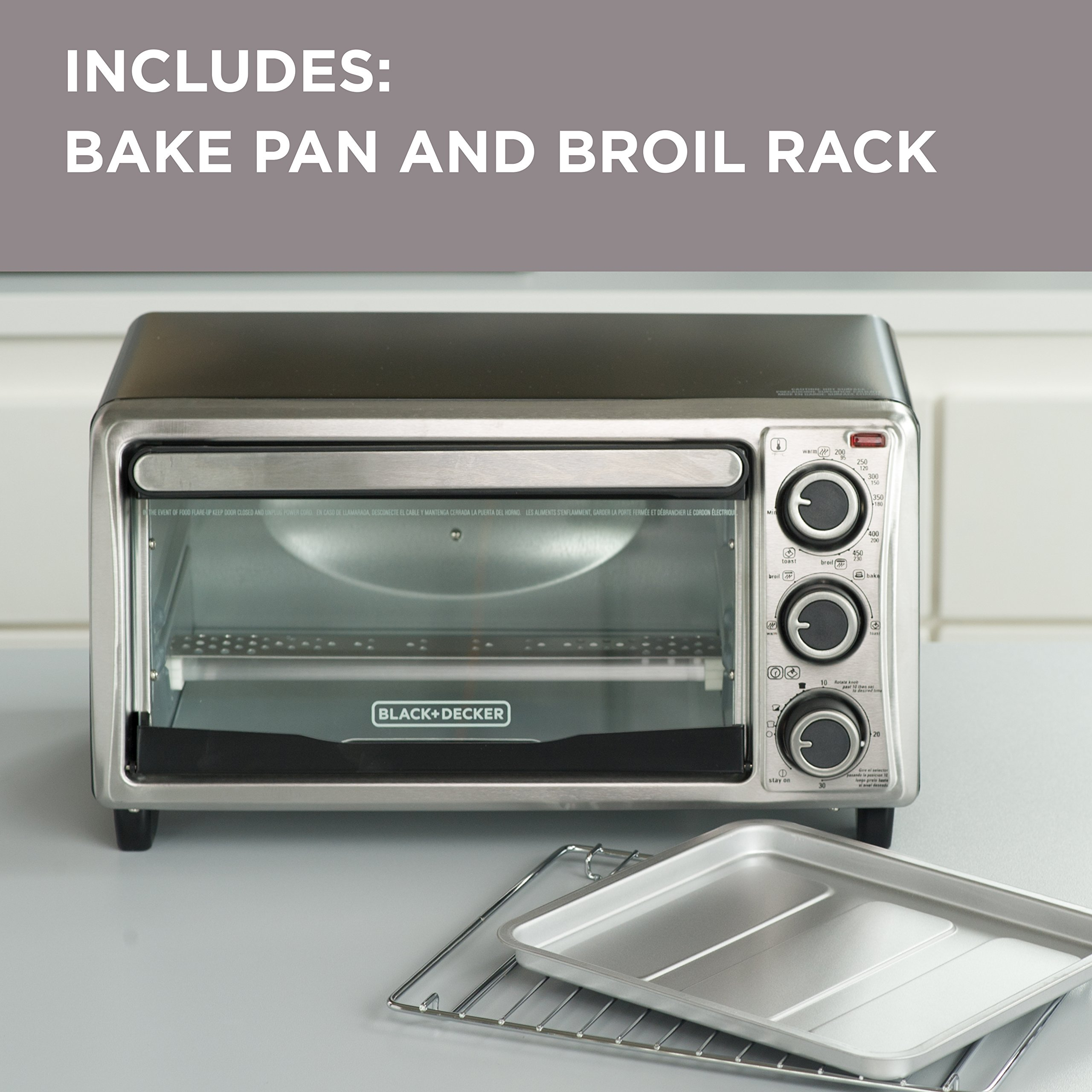 BLACK+DECKER 4-Slice Toaster Oven, Stainless Steel, TO1303SB by BLACK+DECKER (Image #3)