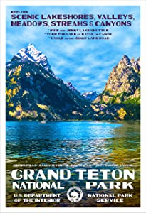 "Grand Teton National Park, Wyoming - Jenny Lake - WPA-Style National Park Poster - 13"" x 19"" - Wall Decor for Home and Office - Original Artwork"