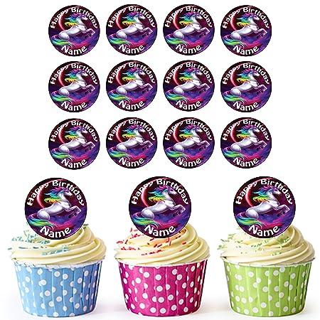 Colorido unicornio 24 personalizado comestible cupcake ...