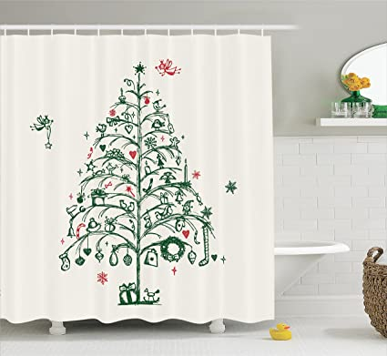Ambesonne Christmas Decorations Shower Curtain Set Fairies With Wands And Chirstmas Tree Hand Drawn Style