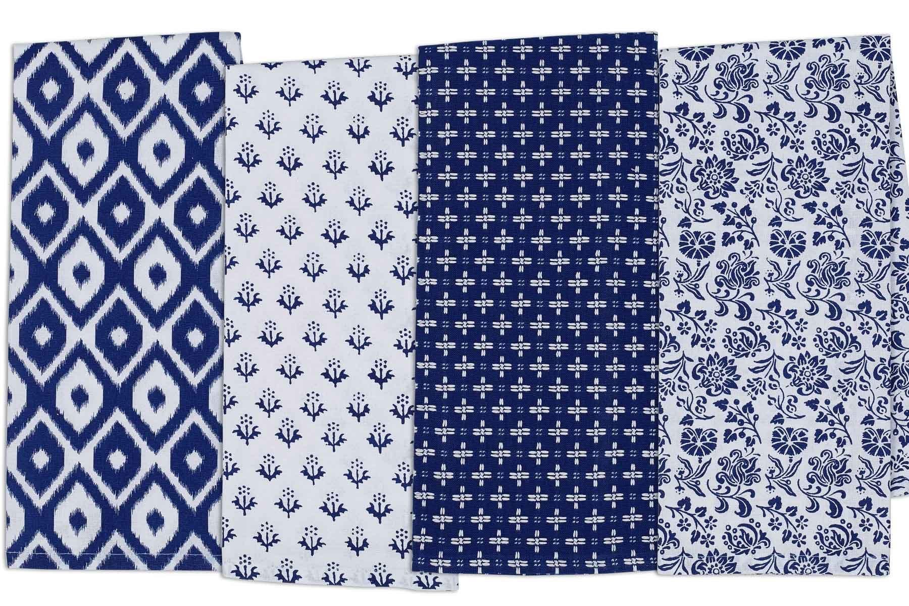 DII COSD35140 Cotton Dish, Decorative Oversized Towels, Perfect for Every Day Home Kitchen, Holidays and Housewarming Gifts, 18x28, Blue Market