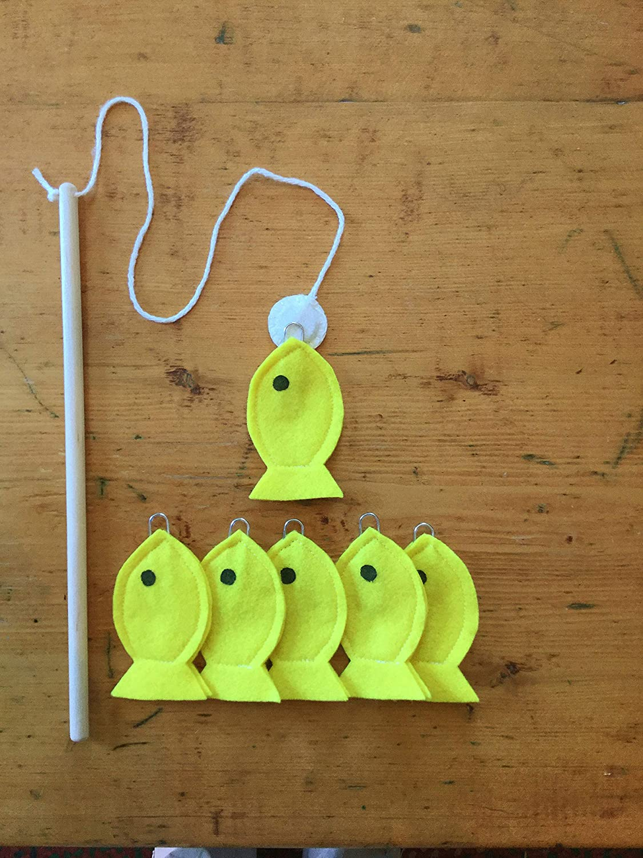 Montessori Games Handmade Toys Waldorf Toys Toddler Educational Toys Fishing Kids Game Yellow Fish Magnet Felt Fishing Game