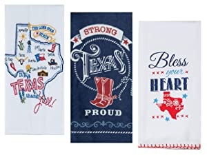 3 Texas Themed Decorative Cotton Kitchen Towels Set with White, Blue and Red Print | 2 Flour Sack and 1 Terry Towel for Dish and Hand Drying | By Kay Dee Designs