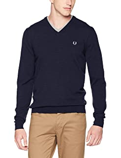 Amazon.com: Fred Perry Mens Fine Merino V-Neck Cardigan ...