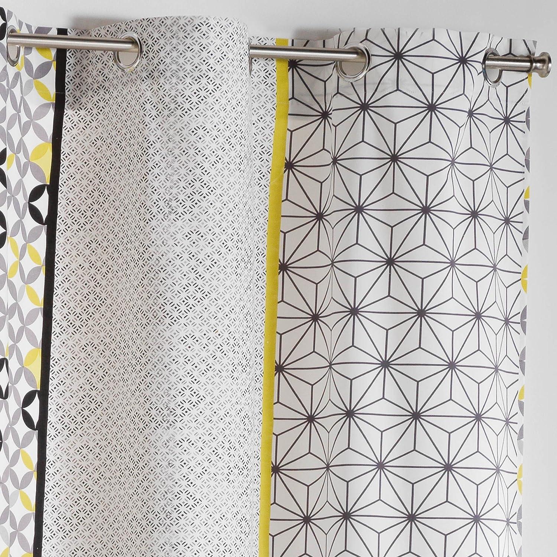 Cotone grigio//giallo COTON DINTERIEUR Cotone da interno tenda a occhielli 140 x 240 cm Remix