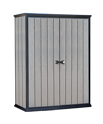 Keter High Store Outdoor Plastic Garden Storage Shed, Grey, 139.5 x 77 x 181.5 cm