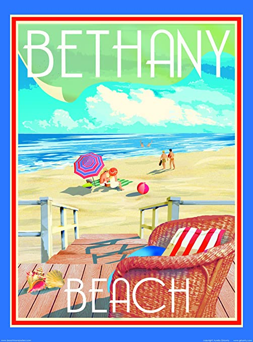 Bethany Beach Chair-Art Deco Style Vintage Travel Poster-by Aurelio Grisanty
