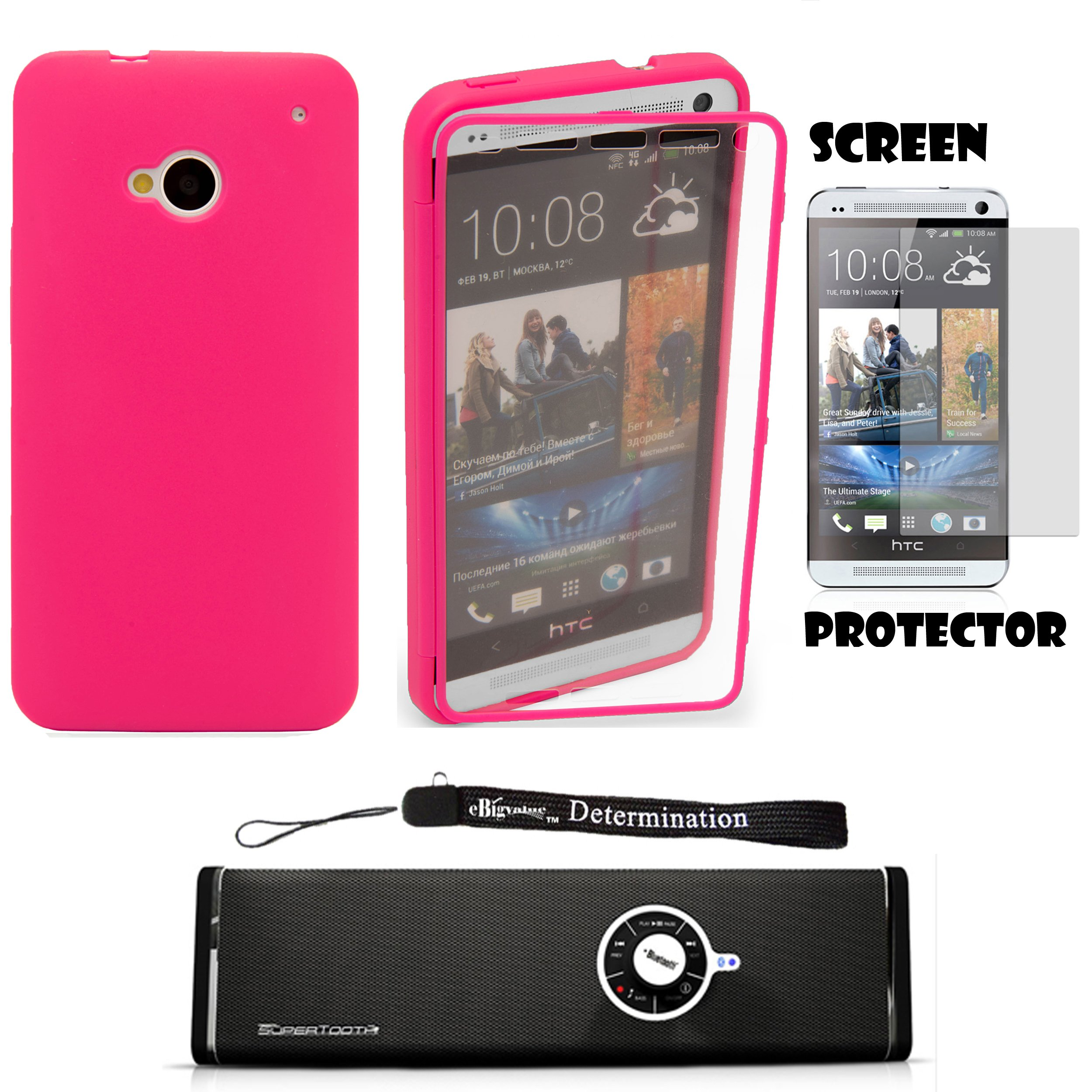 TPU Cover Skin with Attached Screen Guard For HTC ONE M7 4.7-inch Super LCD 3 (NEWEST 2013 VERSION) + Screen Protector + Bluetooth Speaker by eBigValue