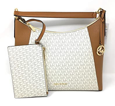 147e6907519b Amazon.com: Michael Kors Kimberly Studded Large Shoulder Tote with Pouch  Vanilla PVC: Shoes