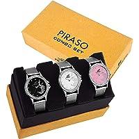 Piraso Analogue Pink,White, Black Dial Women's Watch Combo (PW3-47)