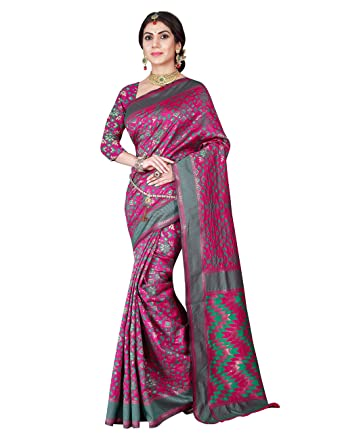 b1df84ae48 Viva N Diva Women's Patola Silk Pink & Green Saree: Amazon.in: Clothing &  Accessories