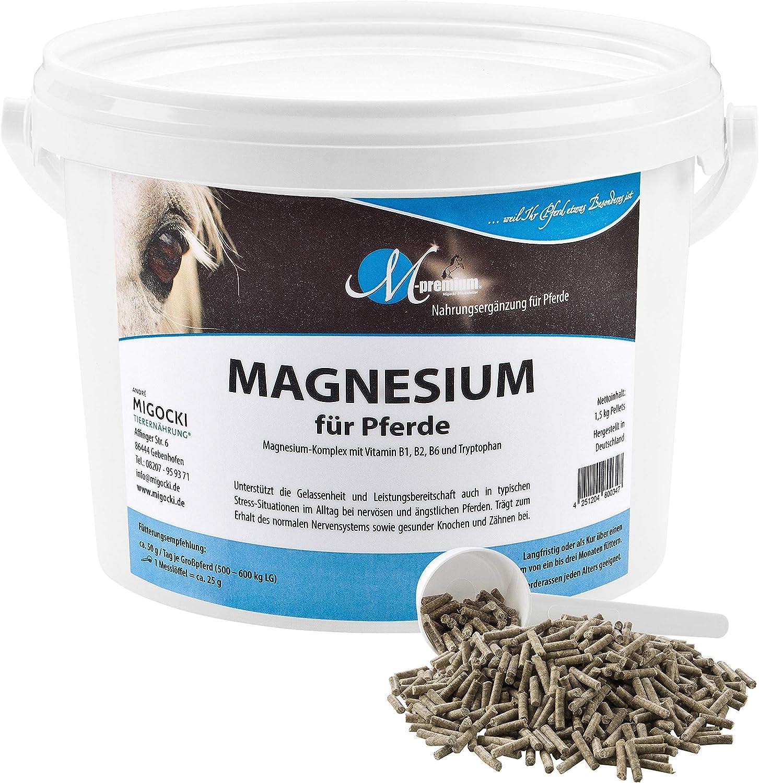 M de Premium Magnesio–1,5kg–Alimentos Complemento para caballos–Soporta la serenidad y potencia reposo de caballos–Pellets