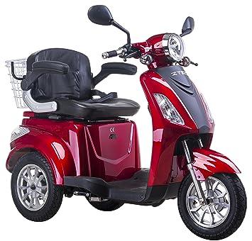 Moto eléctrica para personas mayores, con 3 ruedas, 25 km/h, color rojo: Amazon.es: Deportes y aire libre