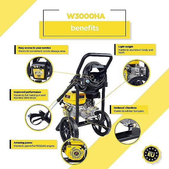 WASPPER ✦ Hidrolimpiadora de Motor de Gasolina 3000 PSI ✦ 196cc con Potencia de Alta presi/ón Jet Hidrolimpiadora Profesional W3000HG port/átil Limpiadora para Autos y Patios