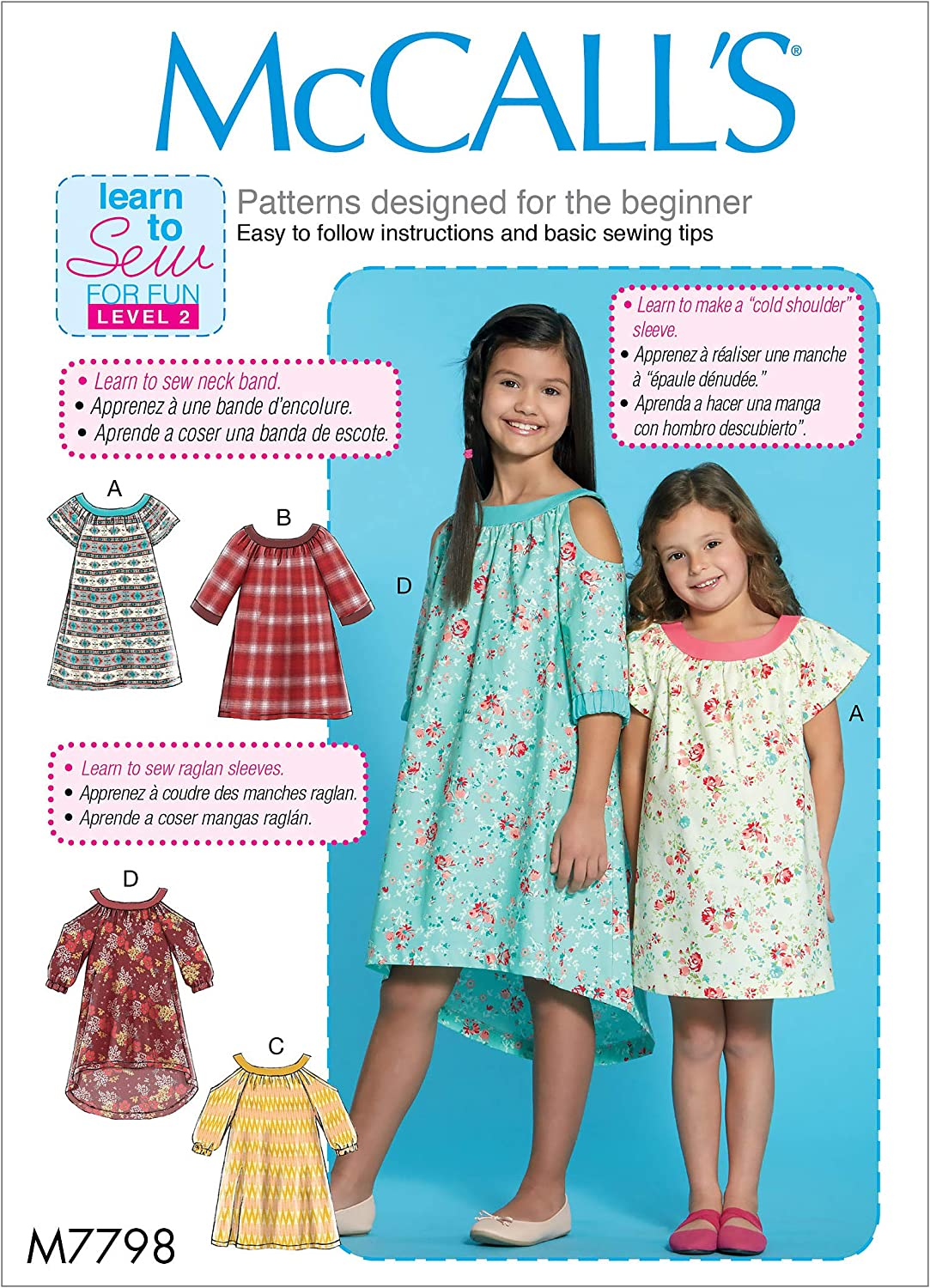 McCall Pattern Company McCall's M7798 Learn Girl's Cold Shoulder and Raglan Sleeve Dress Sewing Patterns, Sizes 7-14, 7-8-10-12-14, White