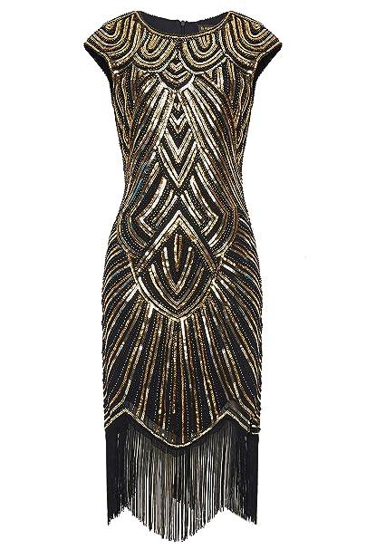 BABEYOND Damen Kleid Retro 1920s Stil Flapper Kleider voller Pailletten Runder Ausschnitt Great Gatsby Motto Party Kleider Da