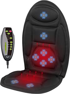 Mynt Vibrating Seat Massager with Dual Heating Area – Over-Seat Cover w/ 8 Powerful Motors, Up to 3.800RPM – for Back and Shoulders; Improve Blood Circulation, Refresh Muscles – for Car, Home, Office