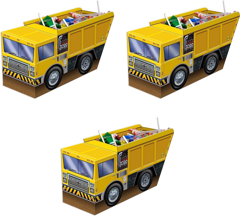 """Beistle , 3 Piece 3-D Dump Truck Centerpieces, 5.25"""" x 10.5"""""""