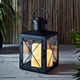 Square Black Battery Operated Lantern with 3 Flameless LED Candles for Indoor Outdoor Use