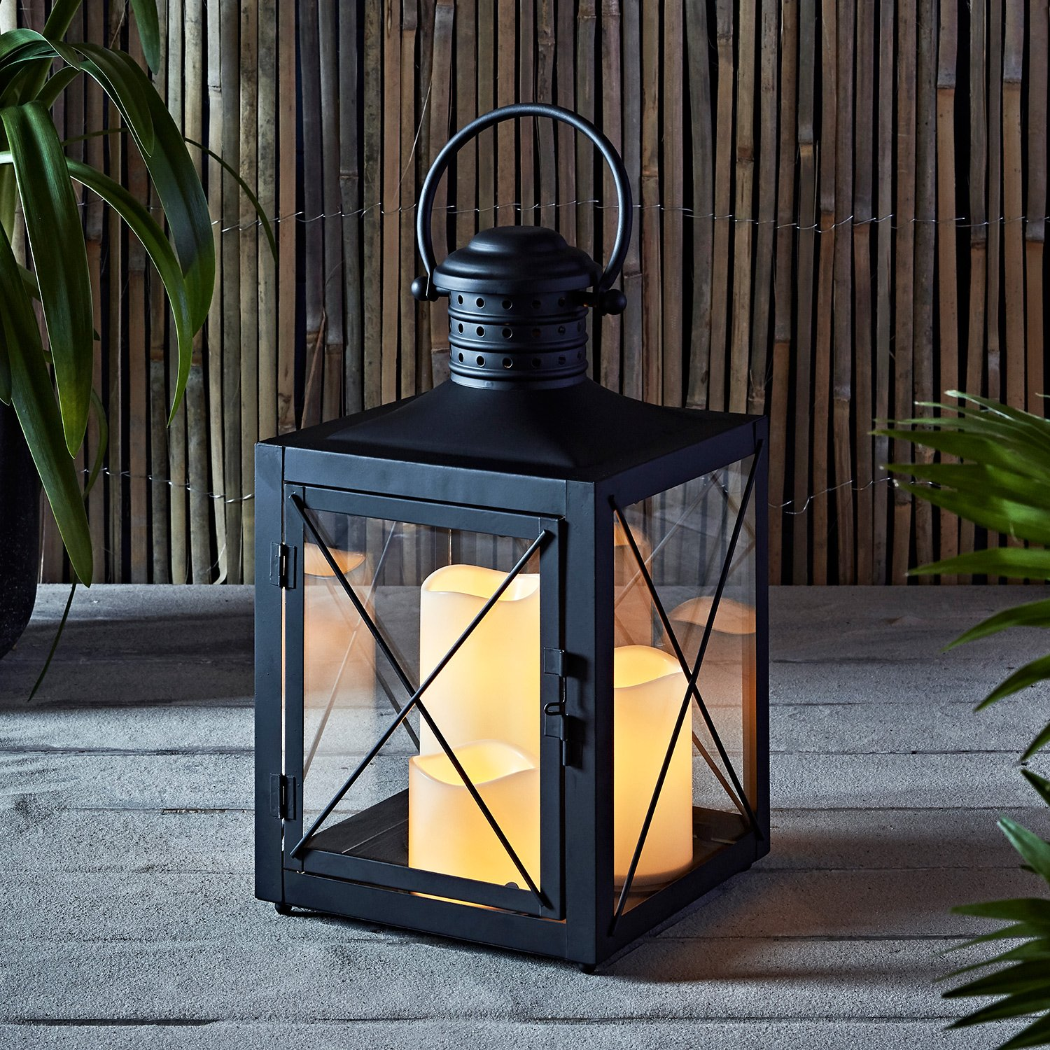 Square Black Battery Operated 3 Flameless LED Candle Lantern - ChristmasTablescapeDecor.com