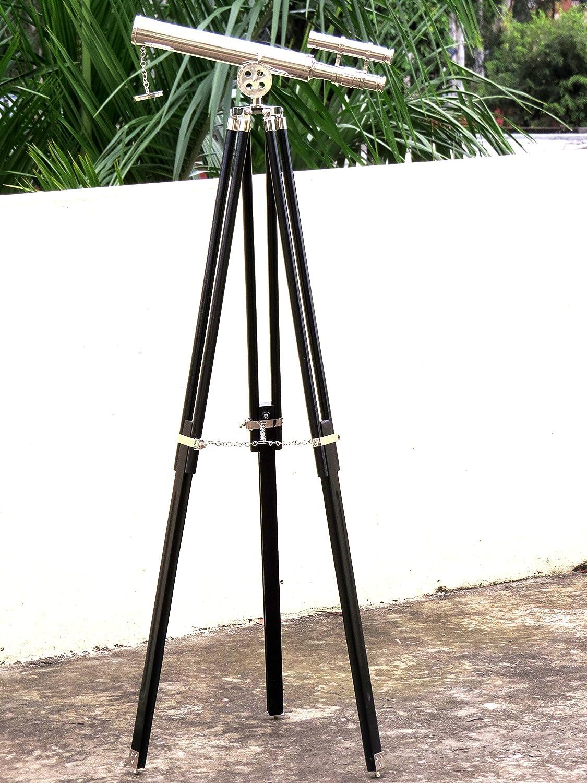 Brass Telescope Floor Standing Tripod Base Nautical Decor 45