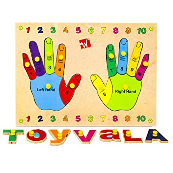 Toyvala Pinewood Wooden Jigsaw Puzzle Board for Kids - Hand and Finger - Learning & Educational Gift for Kids