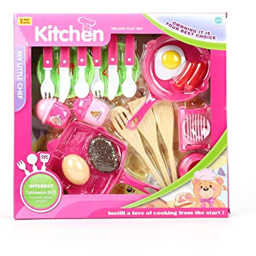 Kids Play Kitchen Accessories - Toddlers Pretend Play Cookware Playset, Girls Birthday Gifts Age 2 3 4 Years Old Girl Toys Set