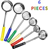 Portion Control Serving Spoons (6-Piece Ladle Set); w 1/4 Cup, 1/2 Cup, 3/4 Cup & 1 Cup (2, 4, 6, 8-Ounce) & Slotted 1/2 & 1 Cup Utensils / Spoodles