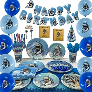 DBRANCO Shark Party Supplies Set – Ocean Pool Party Decorations for Kids Birthday includes Plates Cups Straws Tablecloth Knives Spoons Forks Napkins Balloons Hats Blowouts Serves 10 Guests 140 PCS