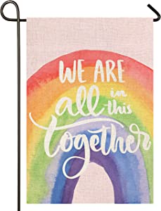 Atenia Rainbow Garden Burlap Flag, Double Sided We are All in This Together Garden Outdoor Yard Flags for Summer Decor (Garden Size - 12.5X18)