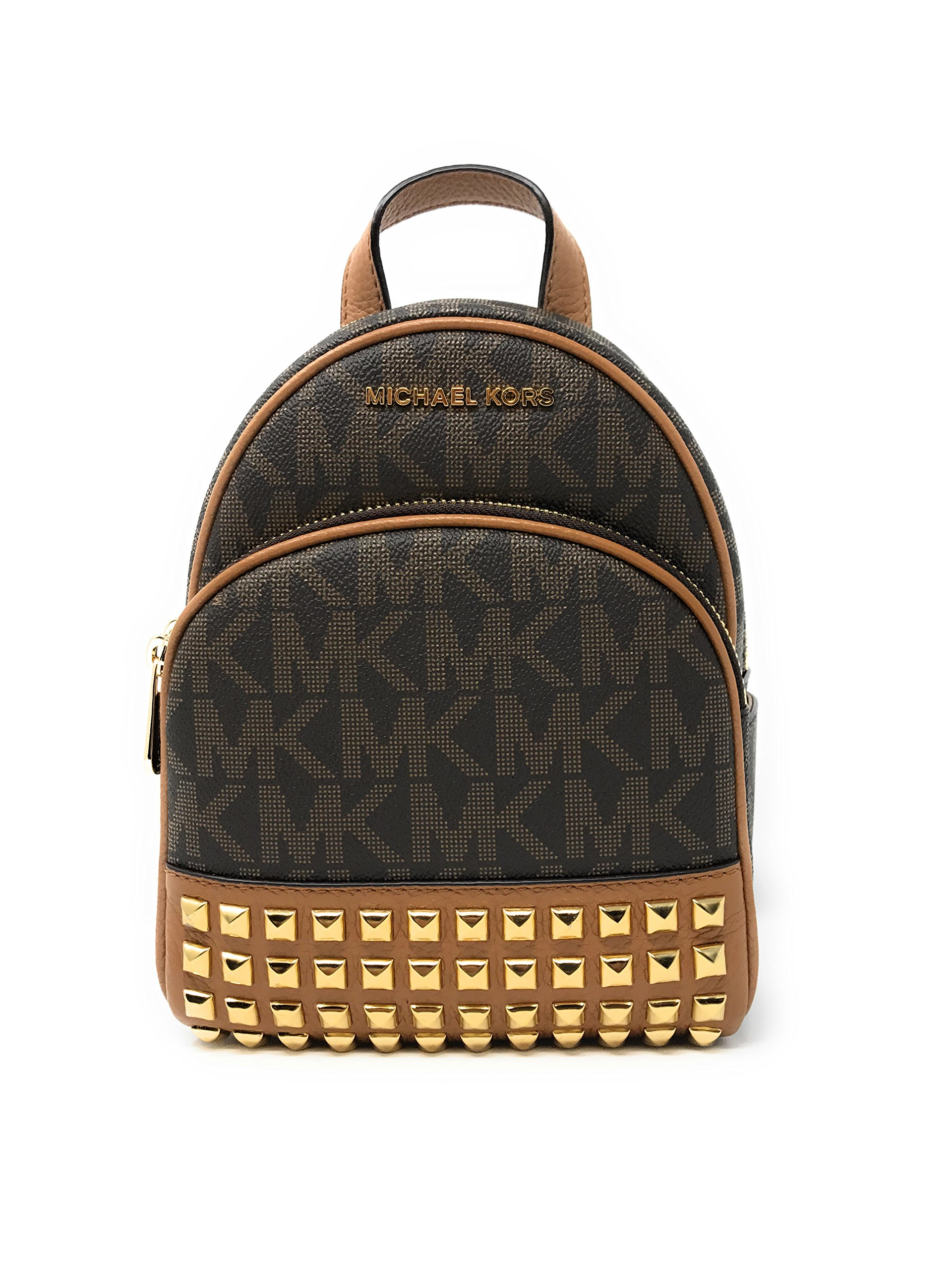 7fac7bbfe9 Galleon - Michael Michael Kors Abbey Extra-Small Signature Studded Backpack  Brown Acorn