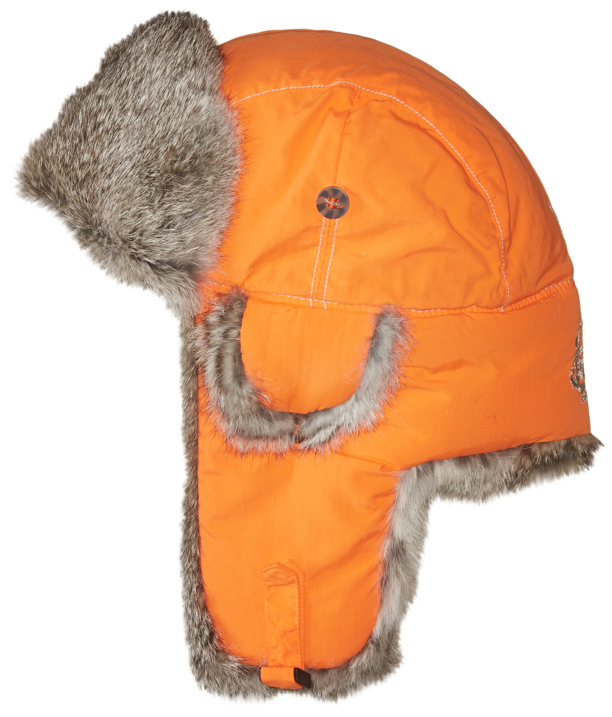 Mad Bomber Blaze Pilot Bomber Hat Real Rabbit Fur Trapper Hunting Cap, Small