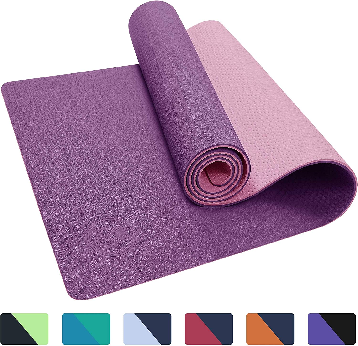 Non Slip IUGA Non Slip Yoga Mat with Carry Strap Thickness 6mm Dual Color Design Durable and Lightweight Eco Friendly /& SGS Certified TPE material Odorless