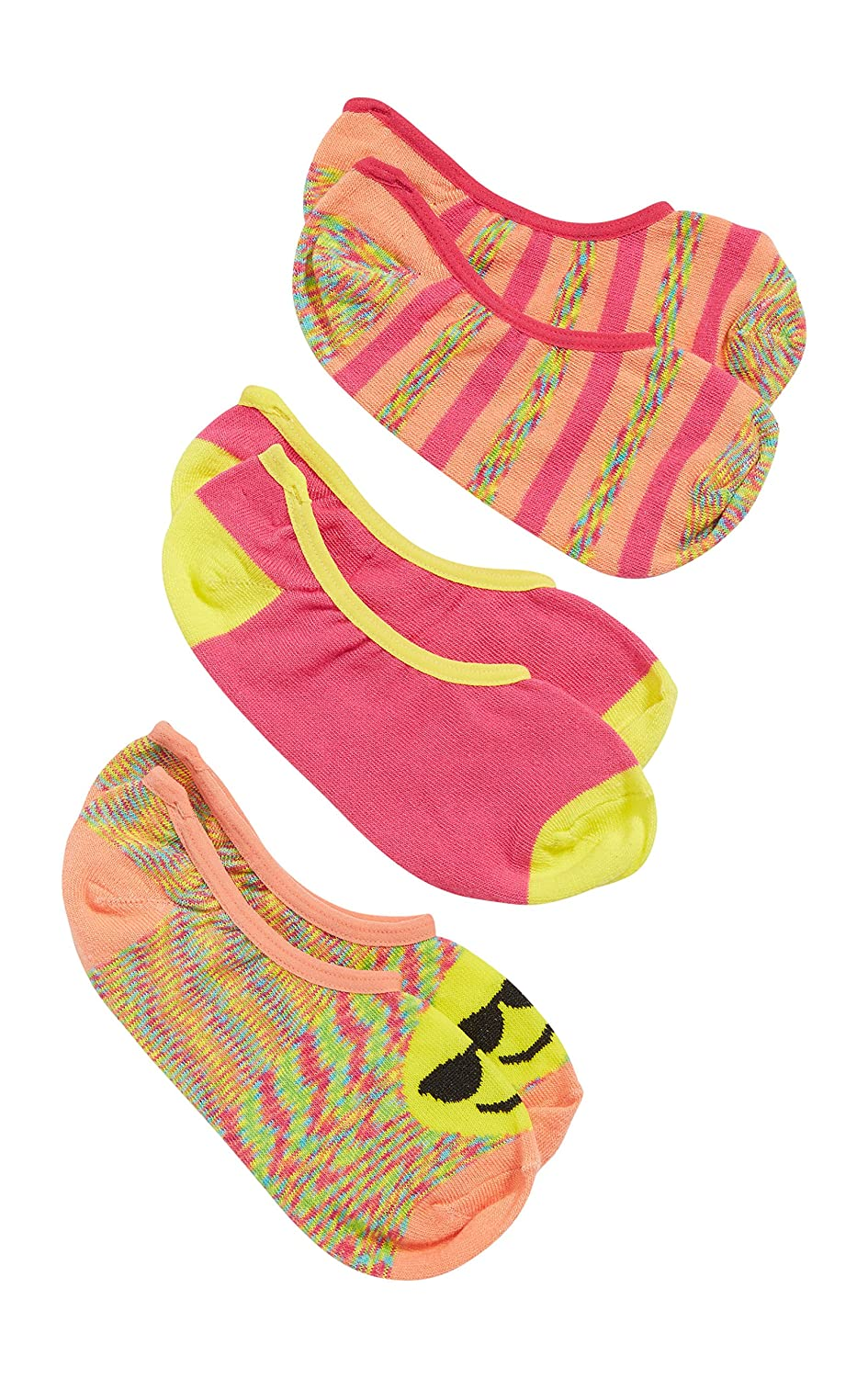 Maurices Women's Colorful No-Show Socks With Emojis - 3 Pack One Size Multi